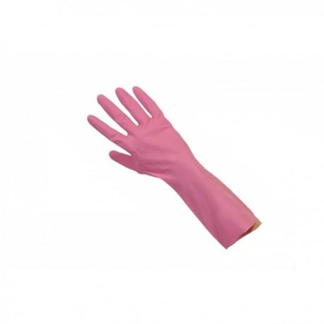 Gant de ménage rose floqué coton